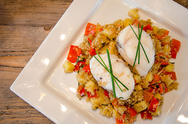 Monkfish With Tropical Quinoa