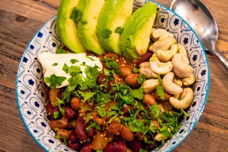 Black Bean Kidney Bean & Quinoa Chilli