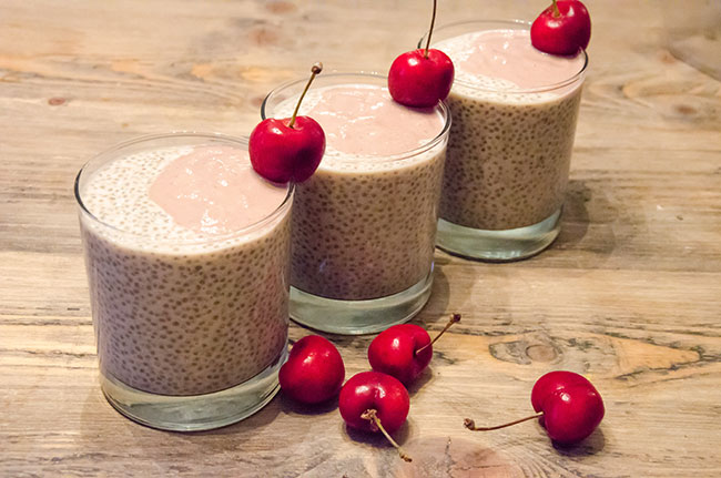 cherry chia pudding balance recipe image