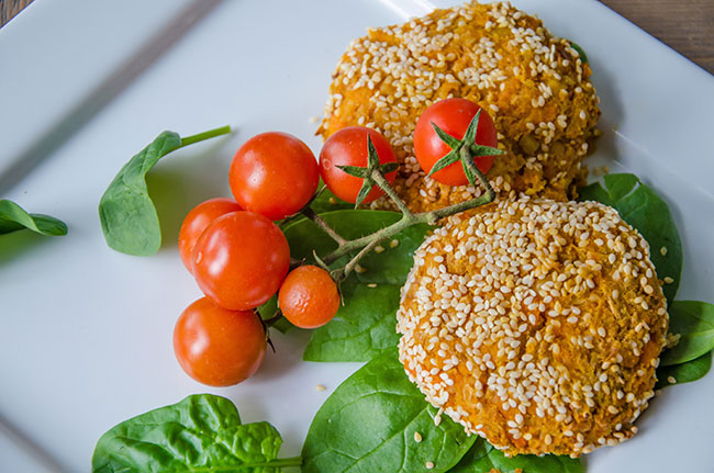 chickpea carrot burgers recipe image