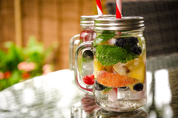 Peach Blueberry Mint Water