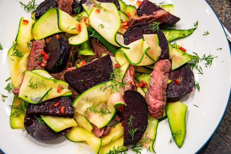 ribeye steak with beetroot and courgette recipe image