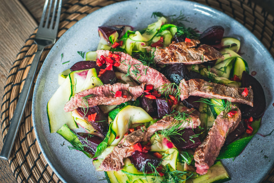 Ribeye Steak With Beetroot & Courgette (SIBO)