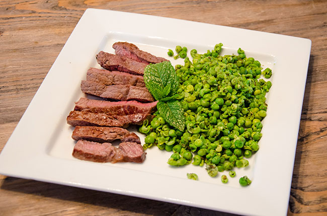 Steak with Smashed Minty Peas