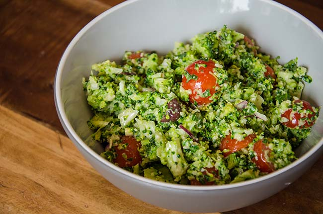 vegan broccoli pesto salad recipe image