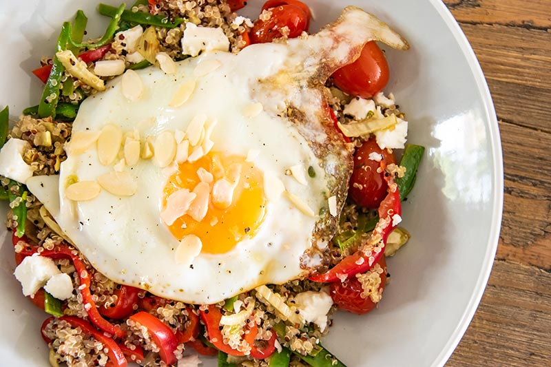 vegetable feta quinoa salad egg recipe image